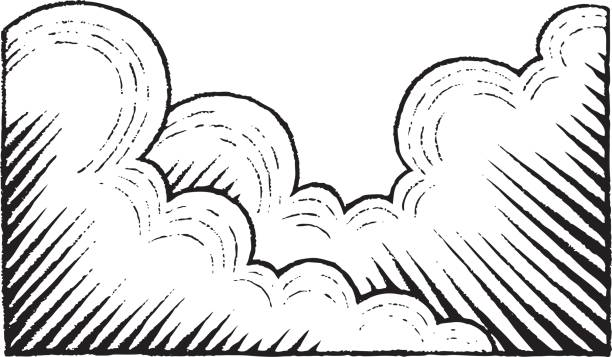 vectorized ink sketch of clouds - гравюра на дереве stock illustrations