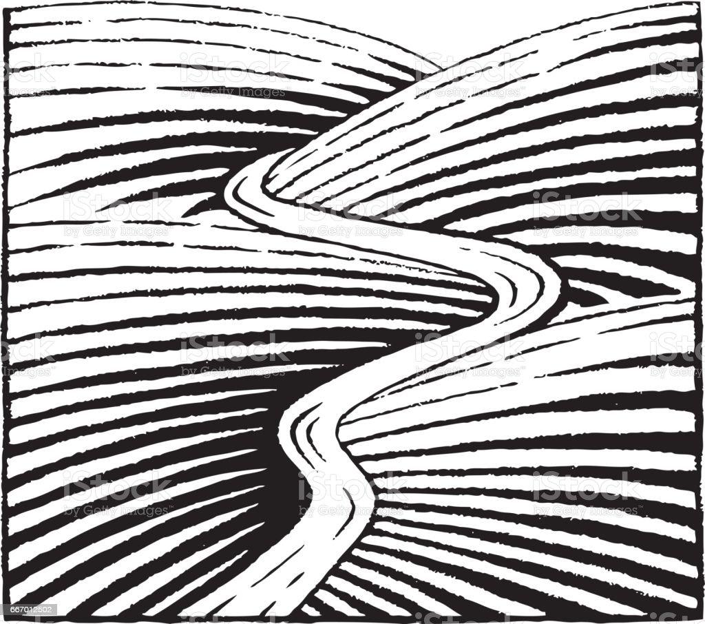 Vektorisierte Tinte Skizze von Hügeln und Fluss – Vektorgrafik