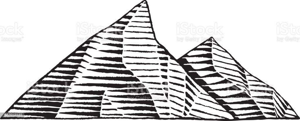 Vectorized Ink Sketch of Mountains vector art illustration