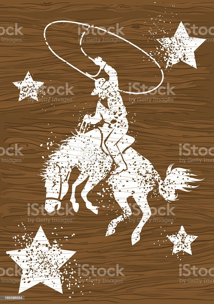 Vectorized man on horse with lasso and white stars on wood vector art illustration