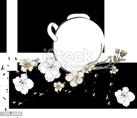 istock Vectorized plastic composition with almond flowers 1325243050