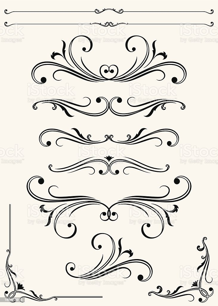 Vectorized - Scroll Set royalty-free vectorized scroll set stock vector art & more images of angle