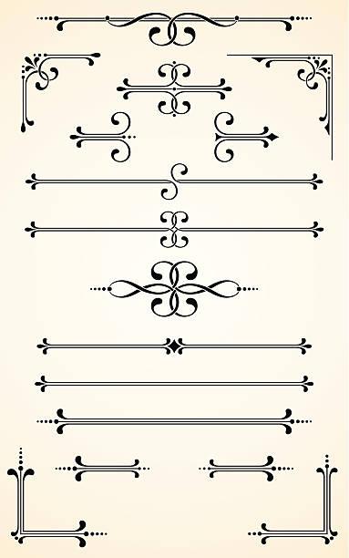 bildbanksillustrationer, clip art samt tecknat material och ikoner med vectorized scroll set - gotisk stil