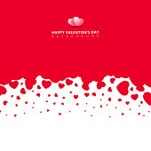 Red hearts futuristic random size on white background for valentines day. Vector Illustration.