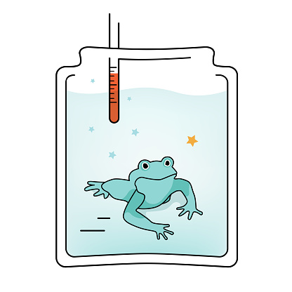 Vectoro Illustration Boiling Frog in a glass jar effect
