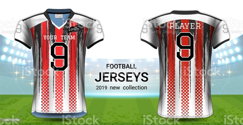 28920b93718 Vectors American Football or Soccer Jerseys Uniforms, Realistic Graphic  Design Front and Back View for