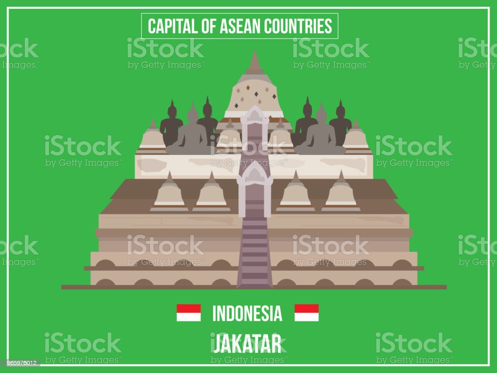 Vectors illustration of Capital of Indonesia Country - Royalty-free Asia stock vector