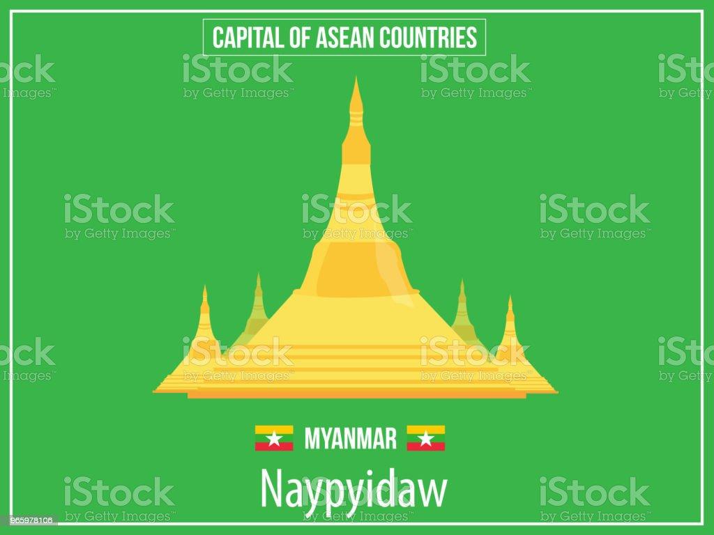Vektorer illustration av kapital av Myanmar land - Royaltyfri Asien vektorgrafik