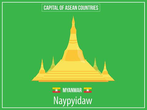 Illustratie Van De Vectoren Van De Hoofdstad Van Myanmarland Stockvectorkunst en meer beelden van Azië
