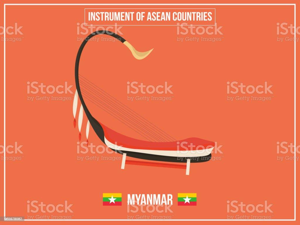 Vectoren illustratie van Instrument van Myanmar-land - Royalty-free Aquarel vectorkunst