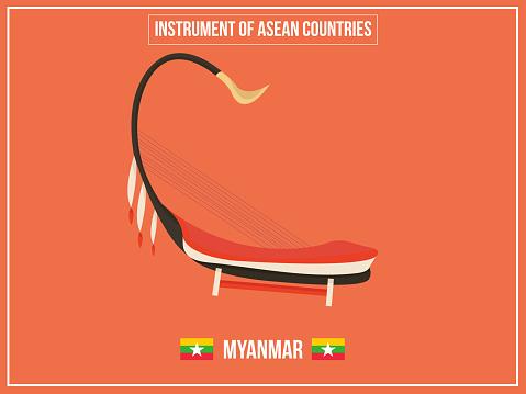 Vectoren Illustratie Van Instrument Van Myanmarland Stockvectorkunst en meer beelden van Aquarel