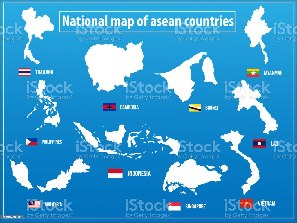 Map Of Asia Countries.Vectors Illustration Of National Map Of Asian Countries Stock Vector