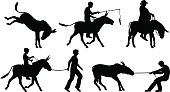Vectors of people with donkeys on white background