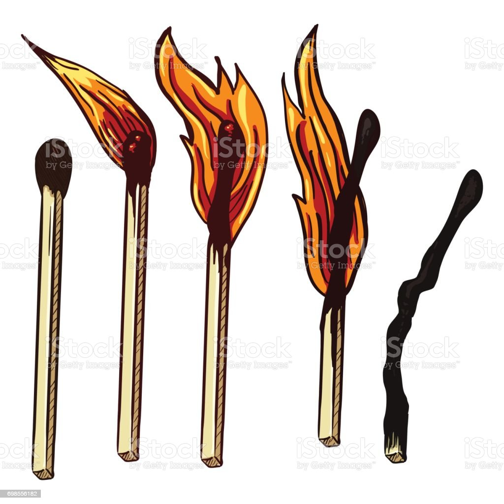 VectorSet of Cartoon Burning Matches. Different Stages of Combustion royalty-free stock vector art  sc 1 st  iStock & Vectorset Of Cartoon Burning Matches Different Stages Of ... azcodes.com