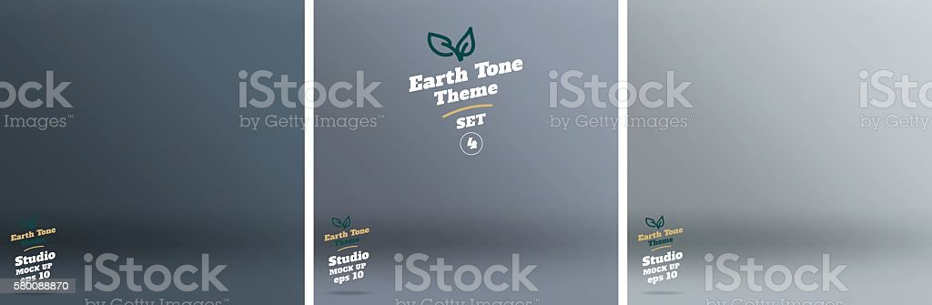 Vector,set of Empty earth tone blue color studio room vector art illustration