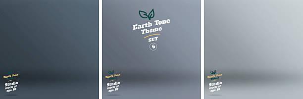 Vector,set of Empty earth tone blue color studio room vector art illustration
