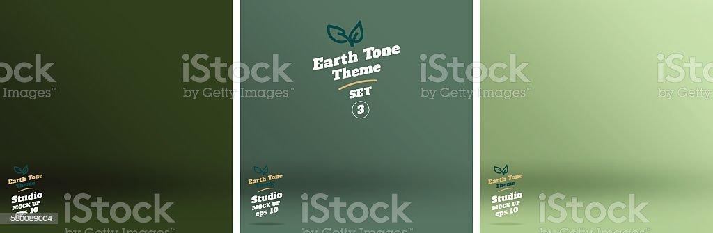 Vector,set of Empty earth tone green color studio room vector art illustration