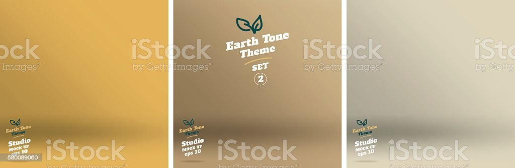 Vector,set of Empty earth tone yellow color studio room vector art illustration