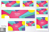 Vector,set of Social media Cover and ads layout background, Material Design style,Header Layout Template.web banner, colorful cover background.