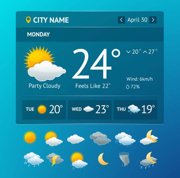 vectot 날씨 위젯 스마트폰 - 날씨 stock illustrations