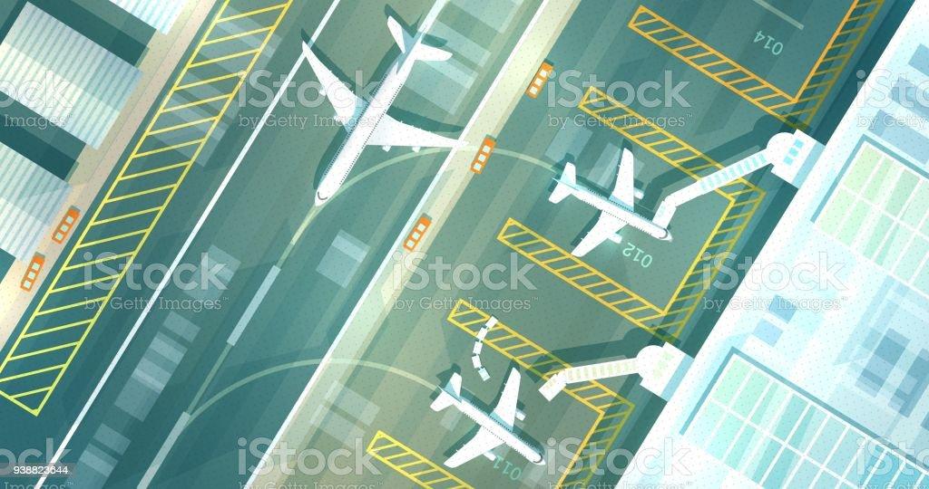 Vectpr Airport Top View vector art illustration