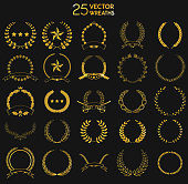 Set of gold award laurel wreaths and branches on dark background. Design element in vector. Laurel wreath. Vector illustration.
