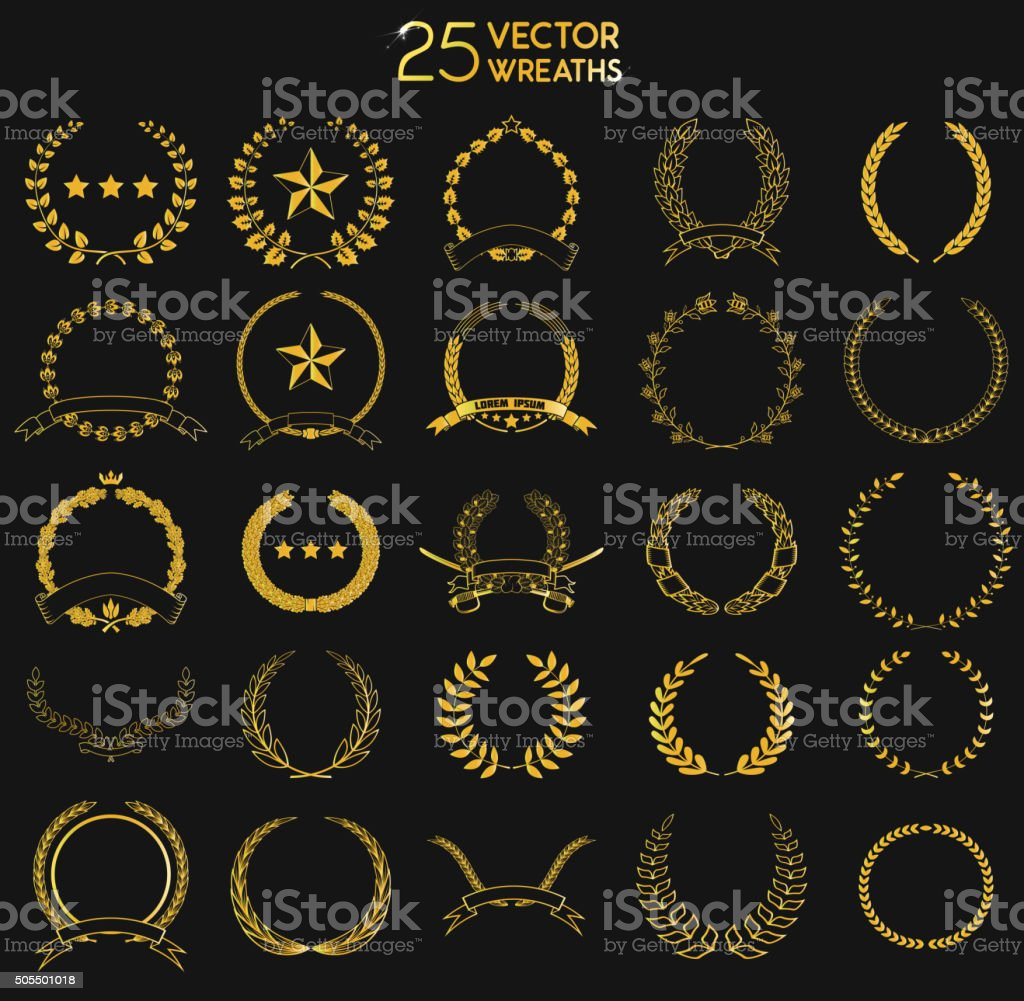 25 vectror  Wreaths. vector art illustration