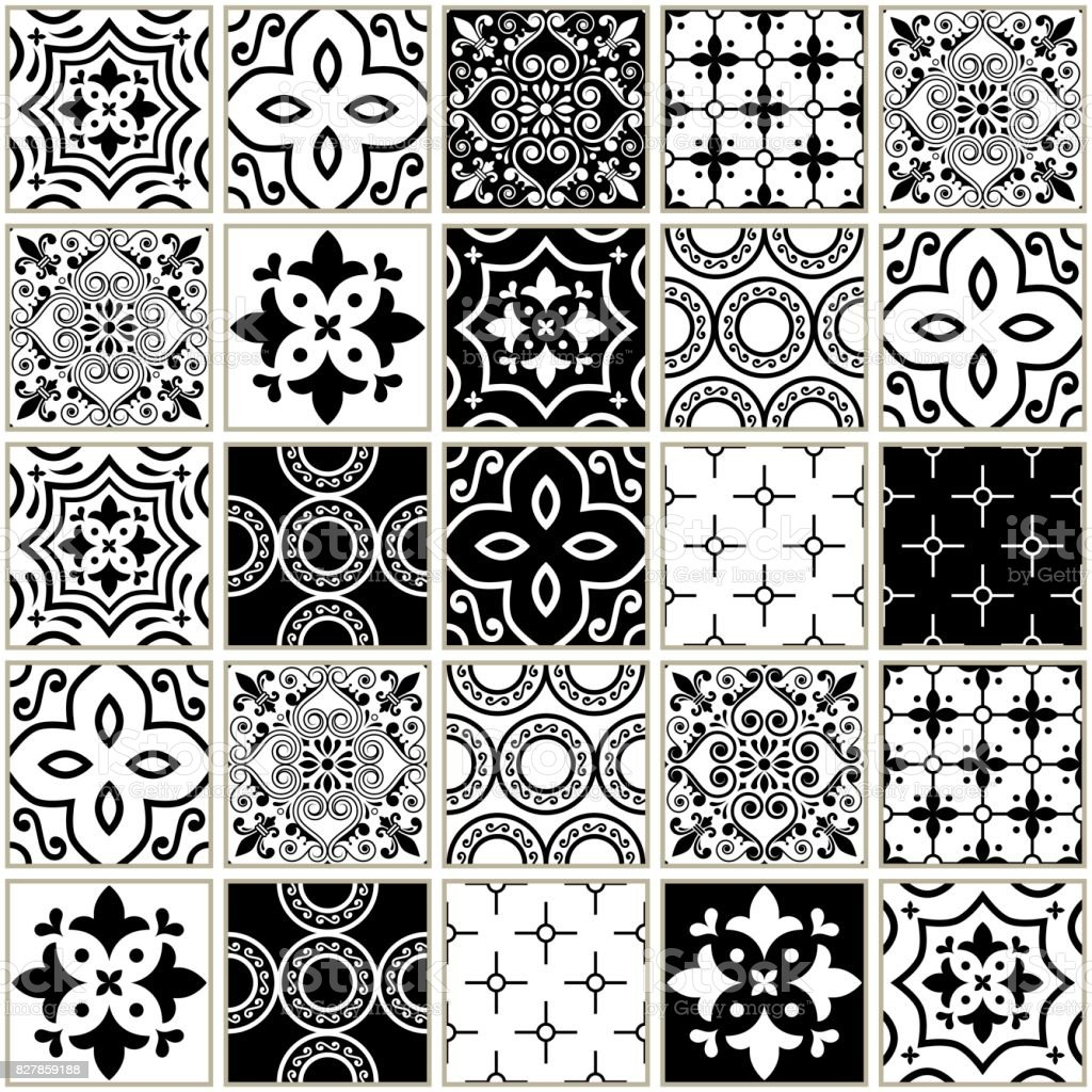 Veector dunkelblaue Fliesen Muster, Azulejos - portugiesischen nahtlose Kachel-Design, monochrome Keramik set – Vektorgrafik