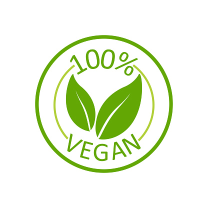 Vegan 100%, great design for any purposes. Green lettering.Eco product. Vector label tag. Healthy nutrition. Vegetarian healthy food.