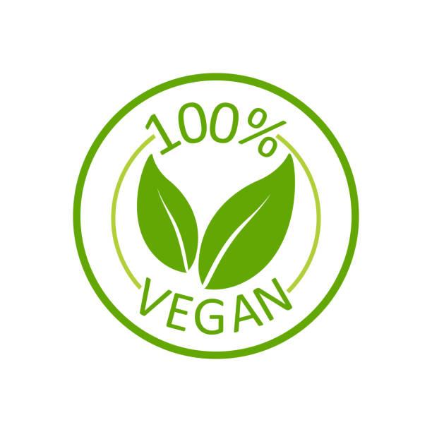 ilustraciones, imágenes clip art, dibujos animados e iconos de stock de vegano 100%, gran diseño para cualquier propósito. letras verdes. producto ecológico. etiqueta de etiqueta vectorial. nutrición saludable. comida vegetariana saludable. - vegana