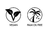 Vector logos for vegan and palm oil free