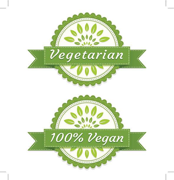bildbanksillustrationer, clip art samt tecknat material och ikoner med vegan and vegetarian labels - vegetarian
