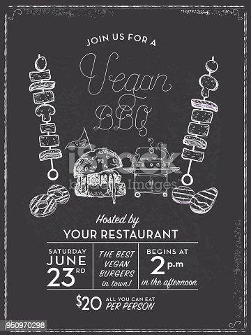 Vegan Barbecue invitation design template