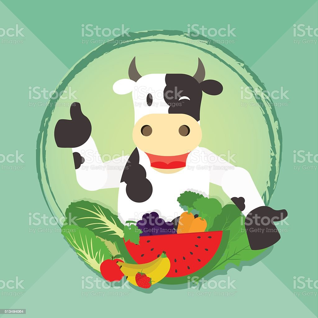 Vegan cow and vegetables vector art illustration