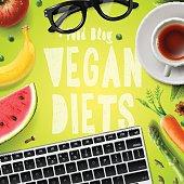 Vegan diet, blogging vegetarian healthy food