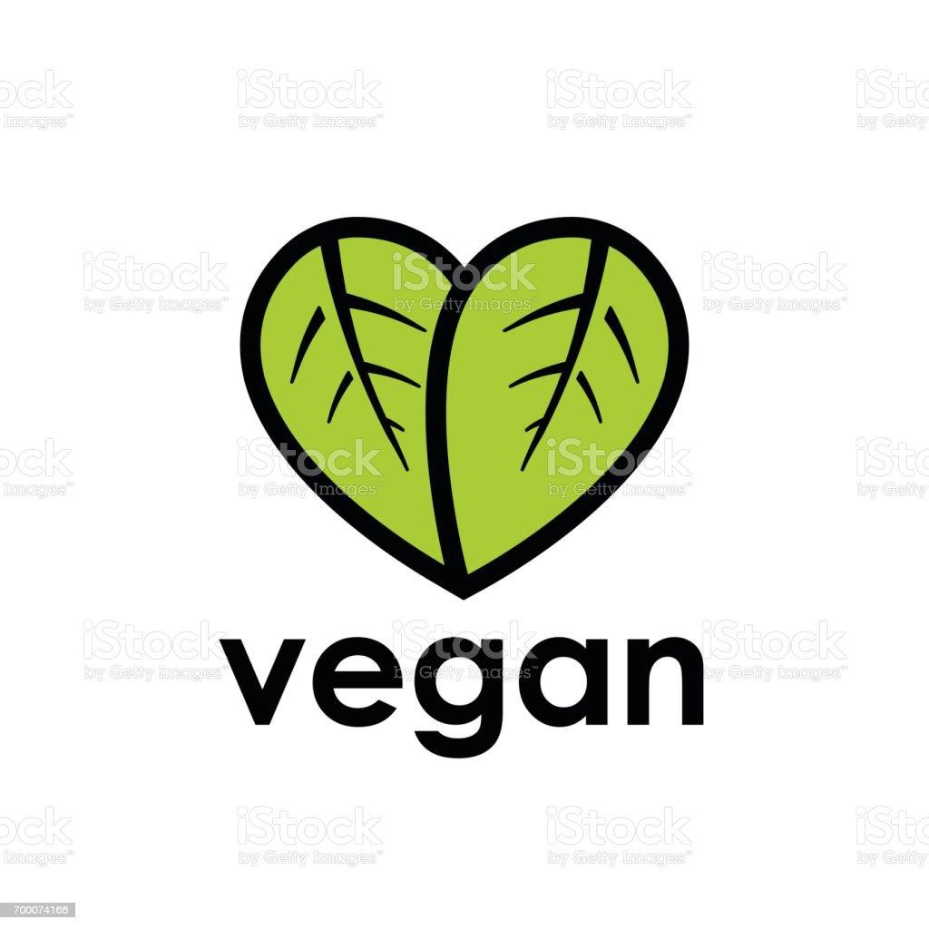 Icono de dieta vegana con hoja en forma de corazón - ilustración de arte vectorial