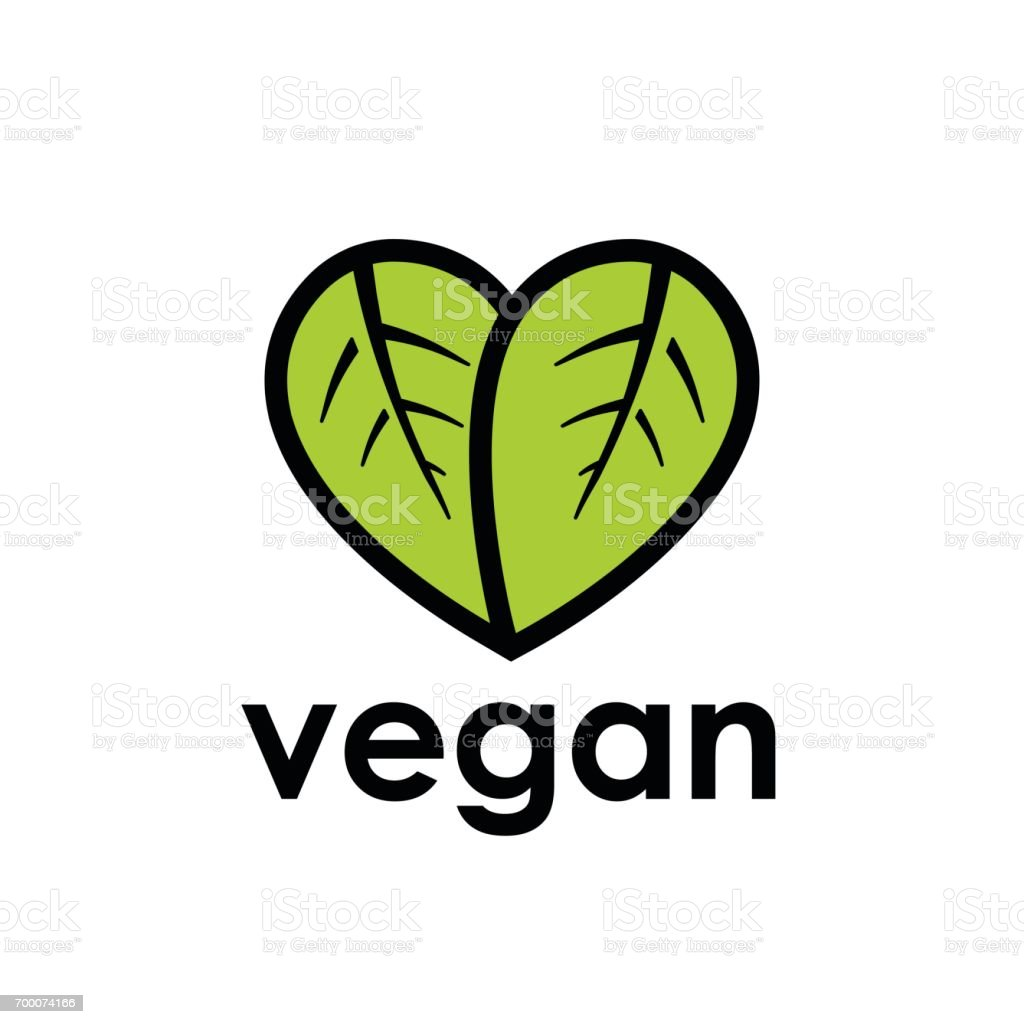 Vegane Ernährung Symbol mit Blatt in Herzform – Vektorgrafik