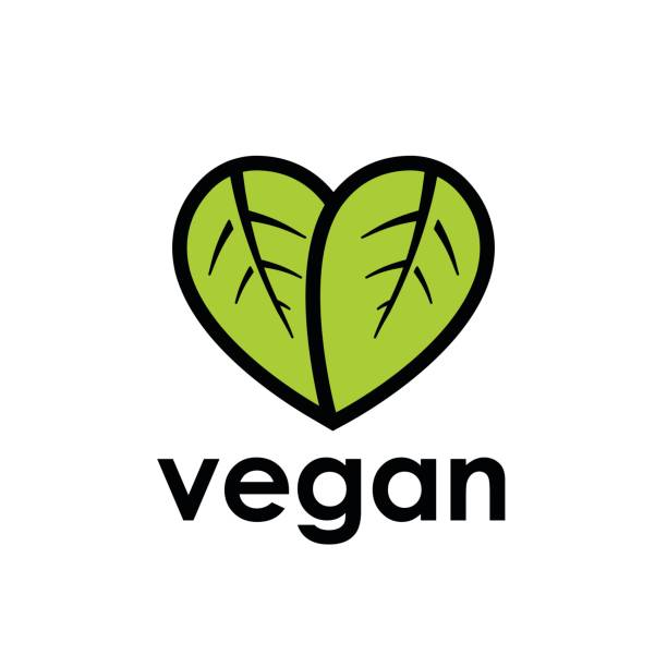 Vegan diet icon with leaf in heart shape vector art illustration