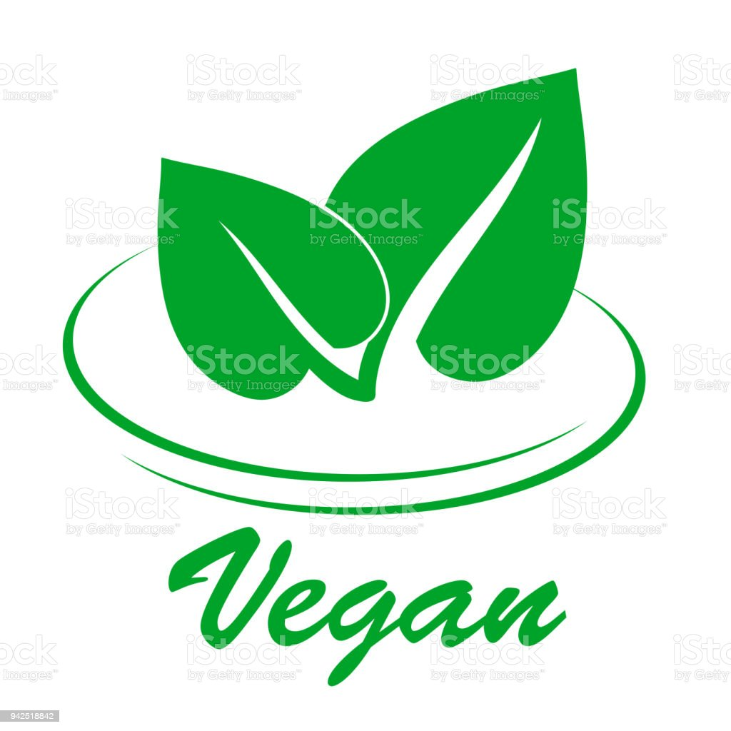 Vegan Flat Icon With Two Green Spring Leaves On White Stock Vector
