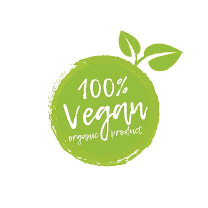 Vegan food and organic production logo