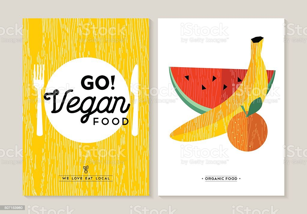 Vegan food illustration designs for healthy eating vector art illustration