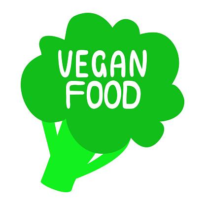 Vegan food label. Broccoli vegan icon. Healthy, eco, organic, vegetable logo. Vector flat illustration