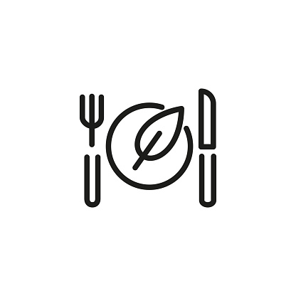 Vegan Food Line Icon