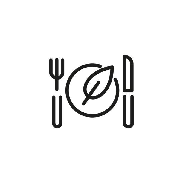 ilustraciones, imágenes clip art, dibujos animados e iconos de stock de icono de línea de comida vegana - vegana