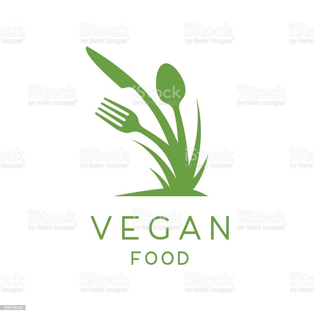 Vegan Food Logo Of Plant Fork Knife And Spoon Icon Stock Illustration -  Download Image Now