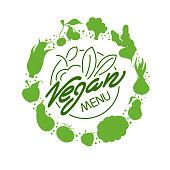 Vegan food menu restaurant advertisement, logo, banner, vector illustration