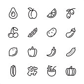 16 line black on white icons / Set #60\nPixel Perfect Principle - all the icons are designed in 48x48pх square, outline stroke 2px.\n\nFirst row of outline icons contains: \nAvocado, Plum (Apricot), Orange Slice, Olive Branch;\n\nSecond row contains: \nCherry, Green Pea, Potato, Eggplant;\n\nThird row contains: \nLemon, Bell Pepper, Chili Pepper, Cucumber; \n\nFourth row contains: \nCelery, Ginger, Coconut Cocktail, Pumpkin.