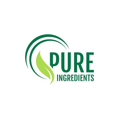 vegan food pure ingredients green leaf label stamp organic ingredients vector icon