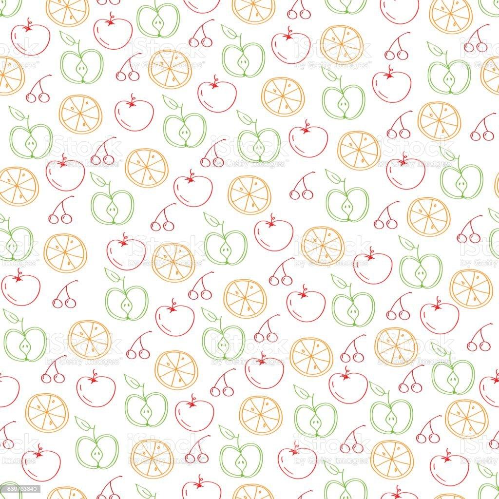 vegan food seamless pattern vector art illustration
