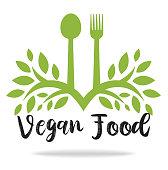 vector vegan food sign, illustration